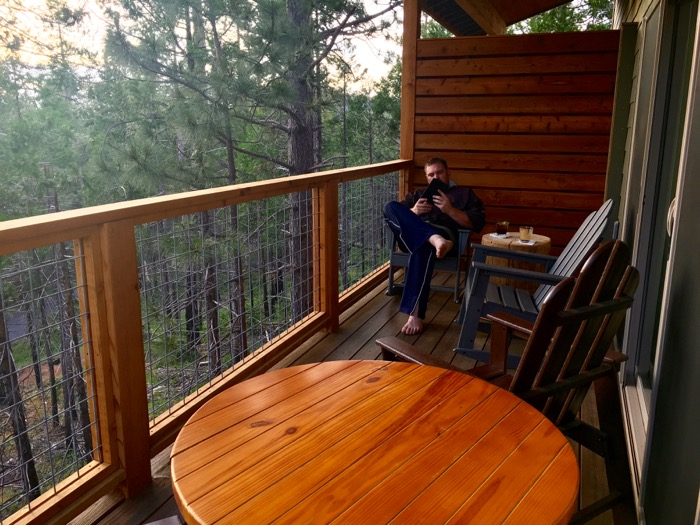 Secluded villa deck at Rush Creek Lodge