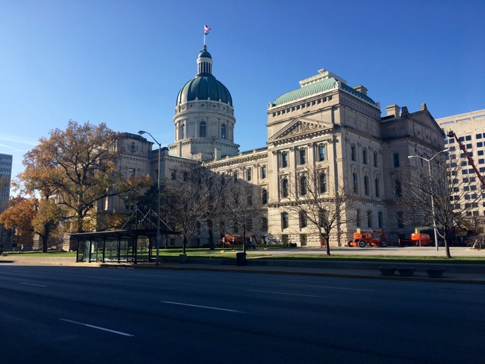 Indiana State Capitol in downtown Indianapolis