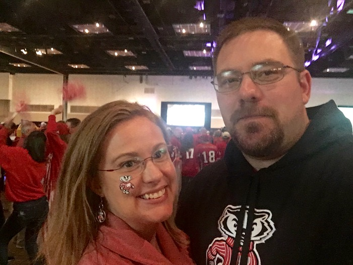 Jason and I at the Wisconsin Big Ten Football Championship Tailgate Party
