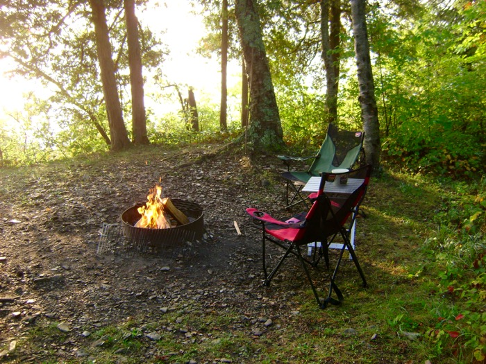 Breakfast campfire while camping Door County