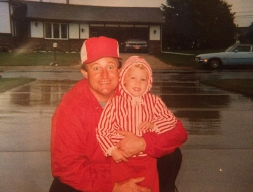 My dad and I wearing our favorite red in the rain