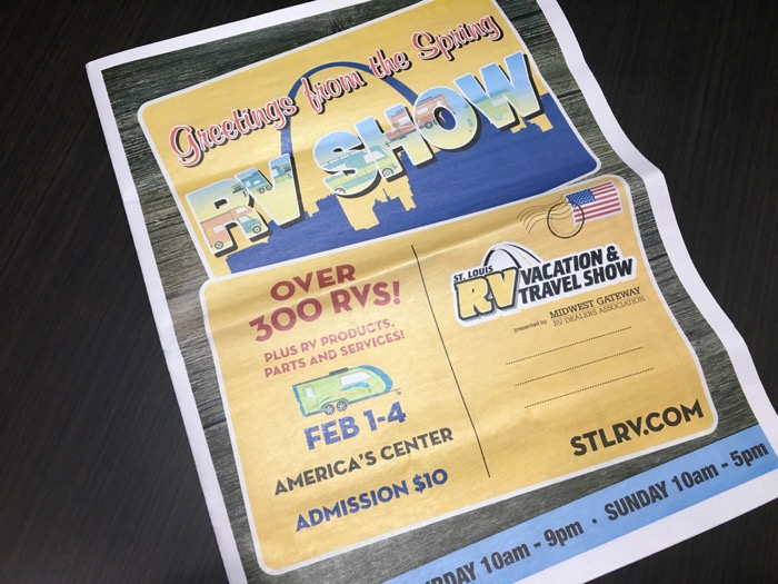 Greetings from the Spring RV Show, the St. Louis RV Vacation & Travel Show