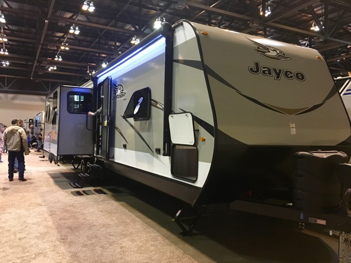 A Jayco Jay Flight at the St. Louis RV Vacation & Travel Show