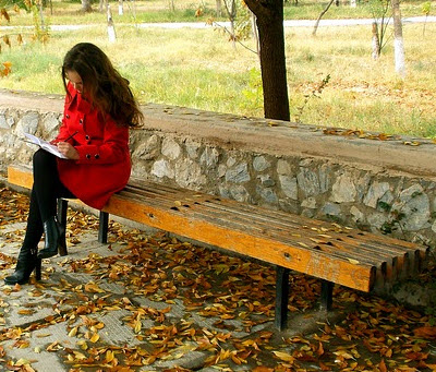 writing-on-a-park-bench