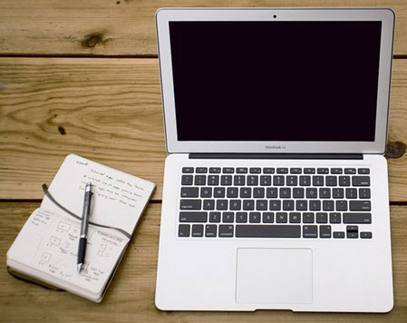 notebook and computer