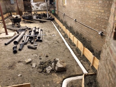 Pouring the footing curb