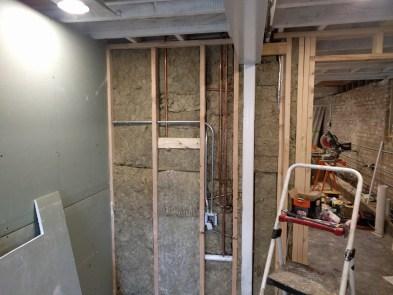 Insulating plumbing wall