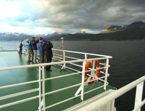 Fellow adventurers capturing the moment as we cruise into the Beagle Channel.
