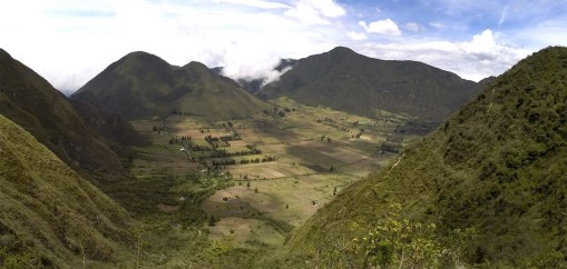 The view of the beautiful landscape inside the Pululahua Volcano just outside Quito.