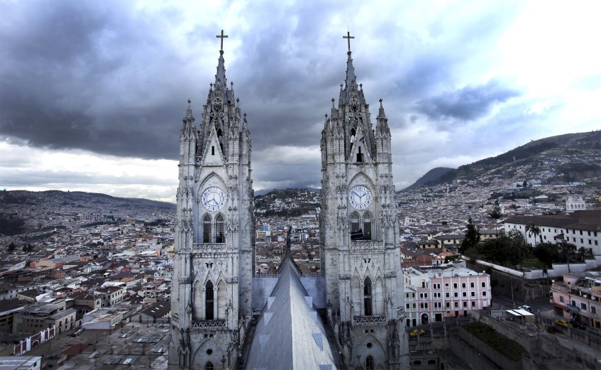 The view of the towers of the Basilica del Voto Nacional from atop the Condor Tower.