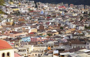 The endless sea of colorful and historic buildings of Quito.
