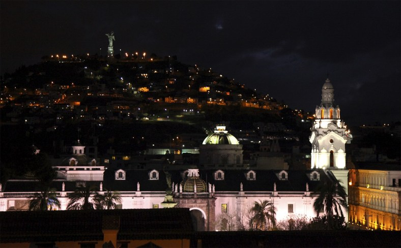 Our view of El Panecillo as night falls over historic central Quito.