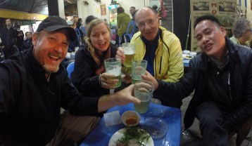 "Enjoying ""bia hoi"" with friends in Hanoi, Vietnam."