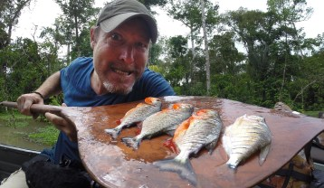 Catching piranha! On the Amazon River in Peru
