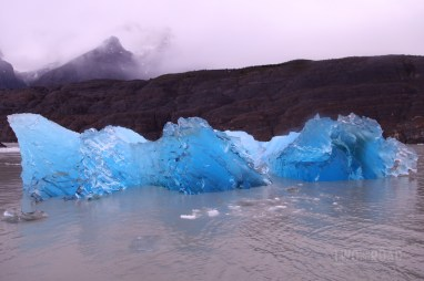Blue Iceberg in Grey Lake, Torres del Paine National Park, Chile