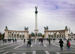 Heroes' Square. One of the many very cool stops on our city tour of Budapest.