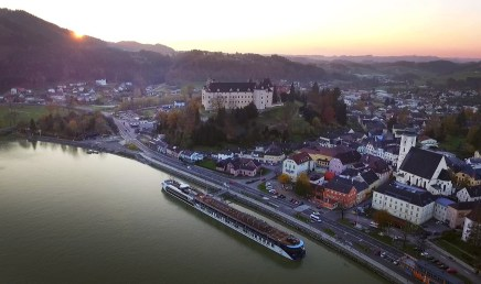 And we end the day docked in the shadow of the beautiful Greinburg Castle, which rises above the lovely little town of Grein, Austria. The castle itself was built between 1488 and 1493.