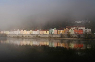 Arrived to a dramatic morning fog blanketing the German city of Passau. The view from our cabin! Not a bad way to wake up.