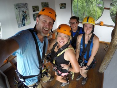 Gettin' ready for adventure with our awesome guide Sarah and Laney at Cypress Valley Canopy Tours!