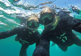 Howdy! From the beautiful waters off the Galapagos island of North Seymour..