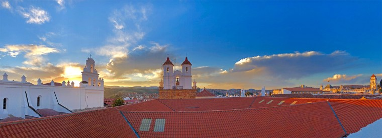 Panoramic view of Sucre at sunset, taken from the terrace of our hotel. Beautiful!