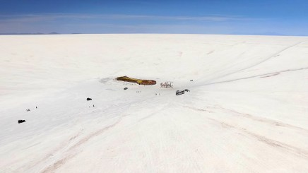 Drone shot of one of the few actual structures anywhere on the salar. It used tio be a hotel but now it's just a kind of stopping place for travelers. And yes, it's made almost entirely of salt itself.