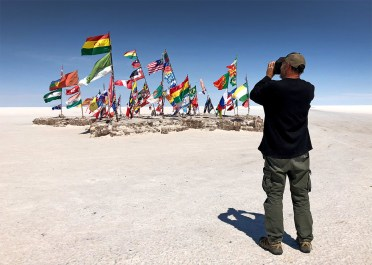 About the only color you'll find out here in the sea of blinding white! Folks come here from around the world to plant their flags. And of course we forgot to bring one. Dang it!