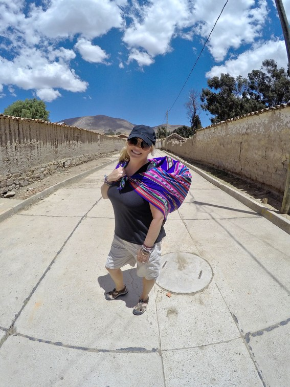 Nik carrying her stash from the market, the way the local ladies do.