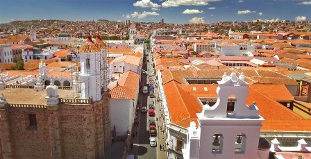 The charming streets of Sucre on a lovely spring day. (It's spring down here!)
