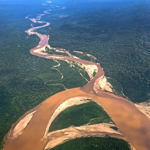 We traveled along the Beni River (below) and made our way up the Tuichi River (above) toward a place called the Chalalan Lodge.