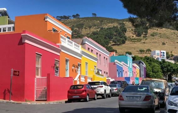 The insanely cool and colorful buildings that make up the famous Bo-Kaap neighborhood in Cape Town.