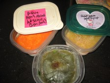 ingredients for soup from the freezer