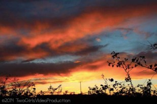 Skies ablaze, Peterhead, Scotland, UK