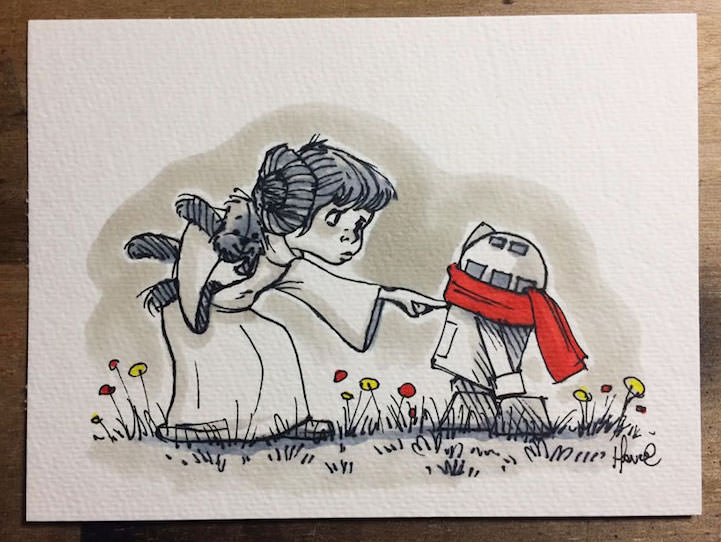 Star Wars as if it was drawn by E.H. Shepard – A.K.A Wookie the Chew
