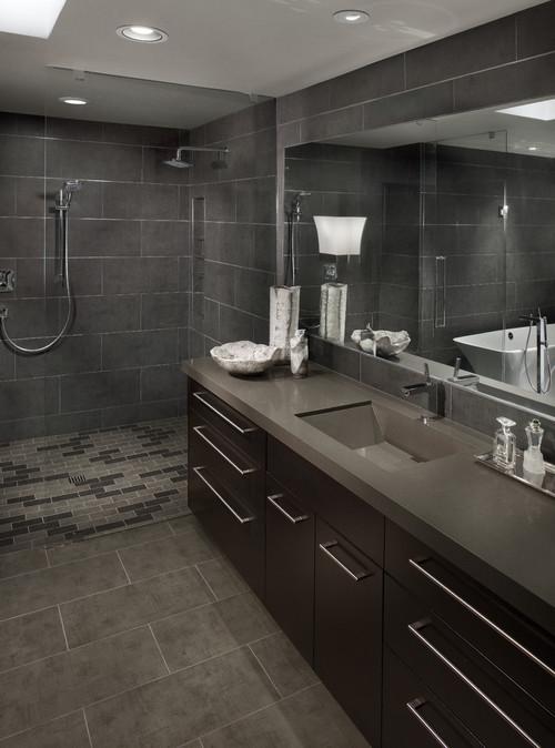 Contemporary Master Bathroom With Single Sink