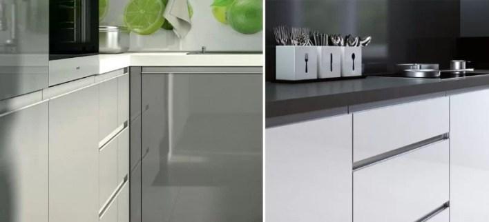 System bezuchwytowy kuchnia z listwa aluminiową