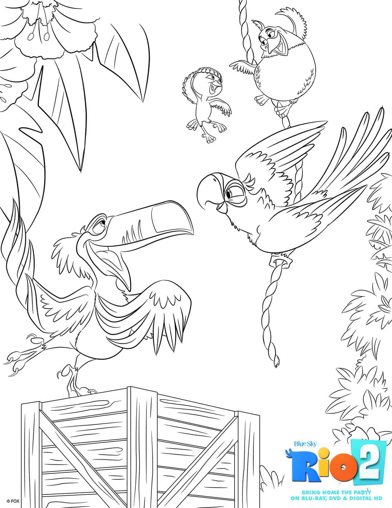 Free Printable Rio 2 Coloring Pages
