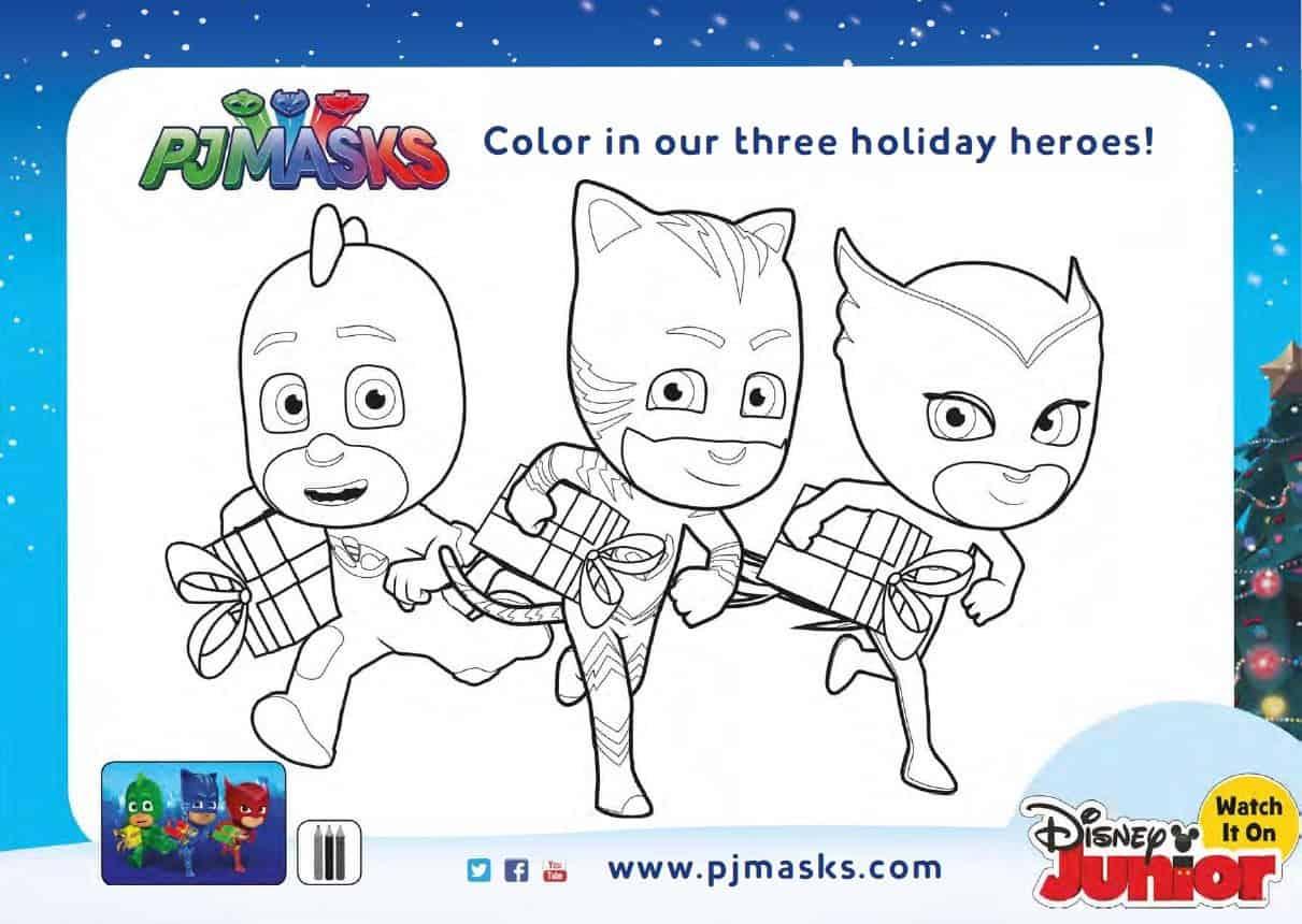 Free Holiday Pj Masks Coloring Pages And Activity Sheets