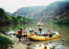 Rafts on the river.