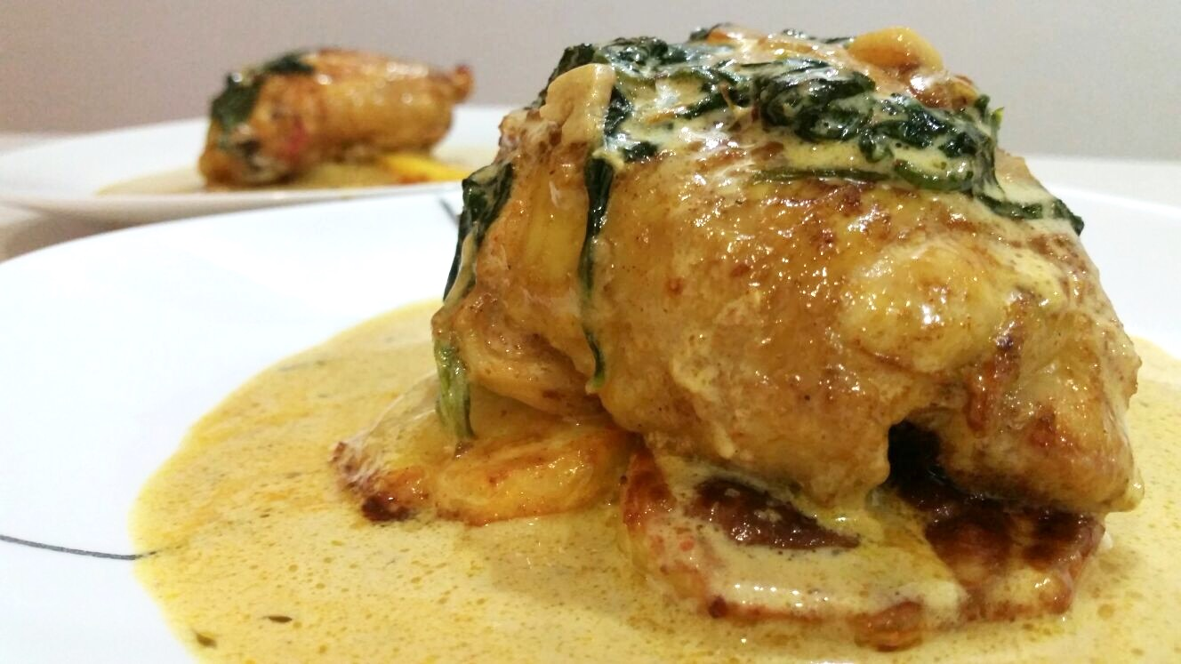 Cumin Chicken with Roasted Potatoes, Spinach and Creamy Sauce