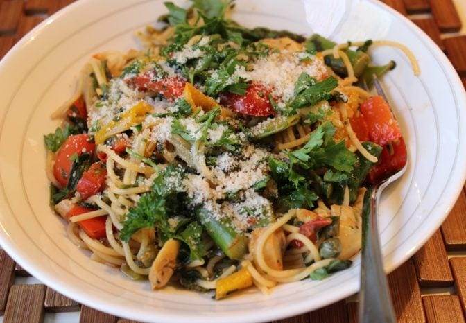 Vegetable pasta with parmesan