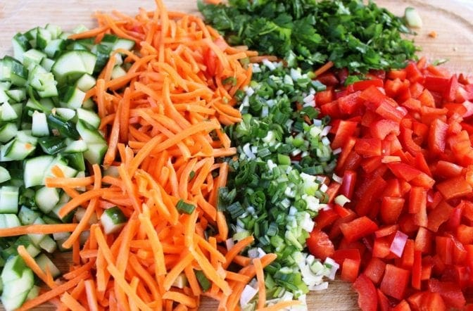 Vegetables and herbs for quinoa salad