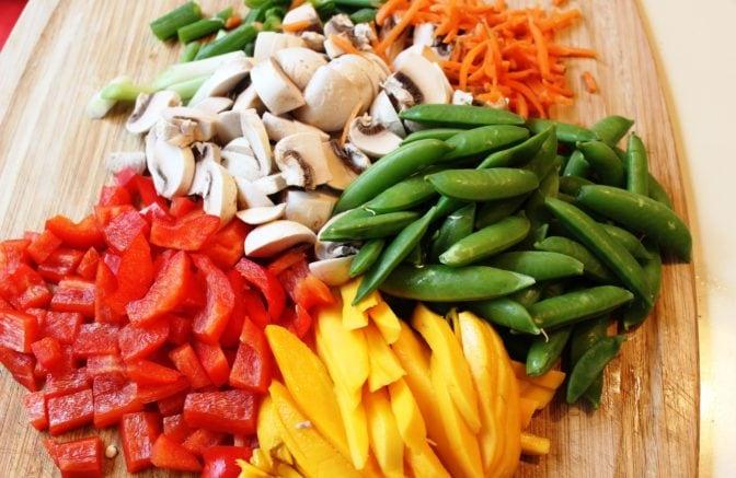 Stir fry vegetables and mango