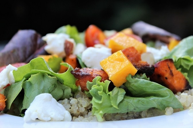 Quinoa-roasted yam salad with maple-balsamic dressing