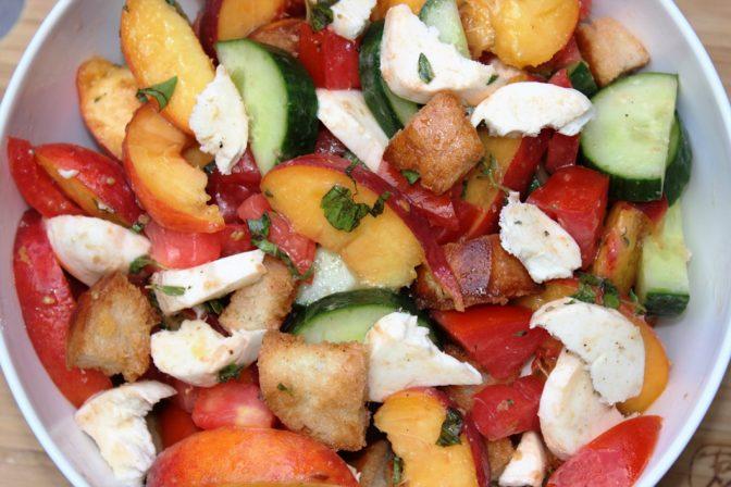 Savoury Peach Panzanella