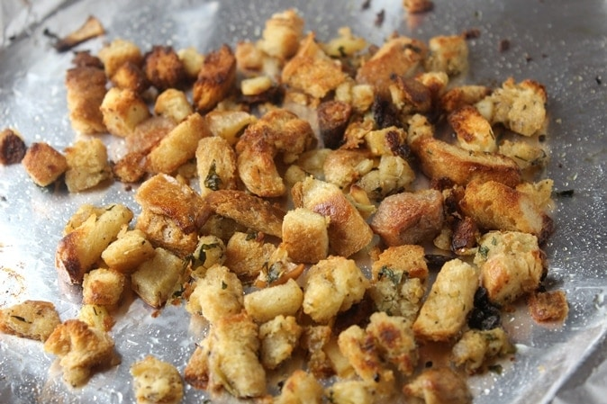 Croutons made from Stuffing