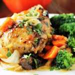 Company Chicken with Citrus, Carrots, Prunes & Pistachios
