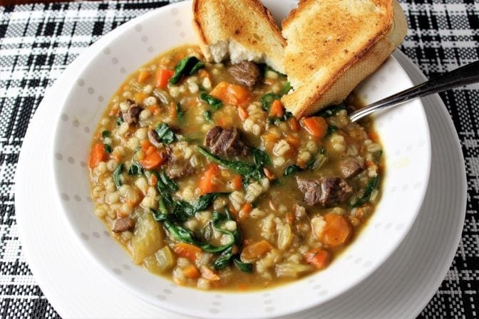 Hearty beef barley vegetable soup