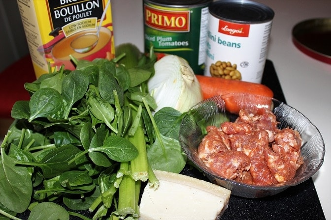 Hearty Healthy Spicy Sausage Soup ingredients