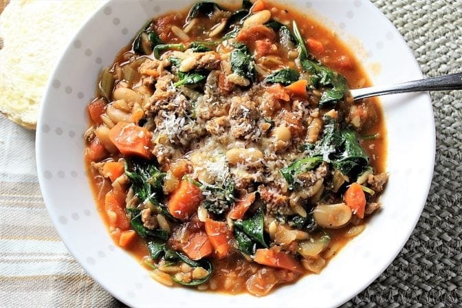 Hearty Healthy Spicy Sausage Soup. Packs in heat, nutrition and great flavours!